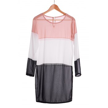Fashionable Jewel Neck Splicing Color Block Long Sleeve Dress For Women