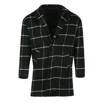 Men's Casual Slim Fit Turn Down Collar Single Button Plaid Long Wool Coat
