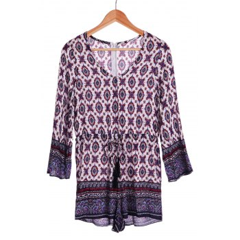 Ethnic Tribe Print Plunging Neck Long Sleeve Romper For Women - COLORMIX COLORMIX