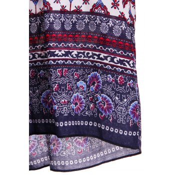 Ethnic Tribe Print Plunging Neck Long Sleeve Romper For Women - S S