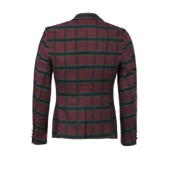 Slim Fit Long Sleeves Plaid Single Button Blazer For Men - RED M