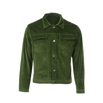 Turn-Down Collar Corduroy Double Jackets Long Sleeve Men's Jacket
