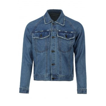 Turn-Down Collar Deckle Edge Design Double Pockets Long Sleeve Denim Men's Jacket