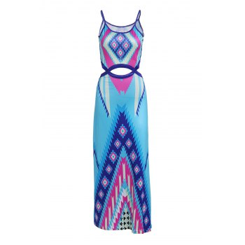 Charming Spaghetti Strap Colorful Printed Waist Cut Out Dress For Women