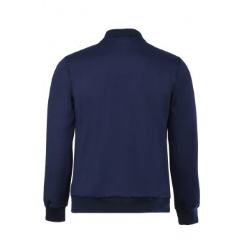 Laconic Stand Collar Long Sleeves Solid Color Jacket - DEEP BLUE L