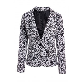 Elegant Women's Lapel Neck Long Sleeve Leopard Print Blazer