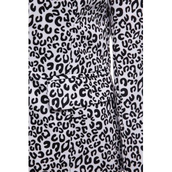 Elegant Women's Lapel Neck Long Sleeve Leopard Print Blazer - BLACK M