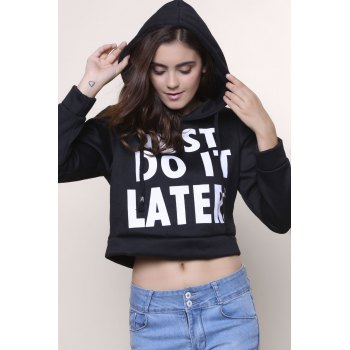 Stylish Women's Hooded Long Sleeve Letter Pattern Short Hoodie - BLACK 2XL