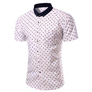 Fashion Turn Down Collar Heart Printing Short Sleeves Shirt For Men