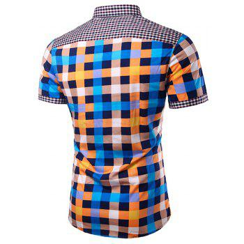 Fashion Turn Down Collar Splicing Checked Short Sleeves Shirt For Men - BLUE S