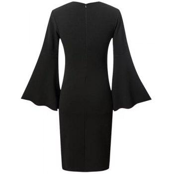 Chic Flare Sleeve Plunging Neck Black Women's Dress - M M
