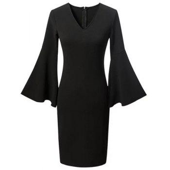 Chic Flare Sleeve Plunging Neck Black Women's Dress - BLACK M