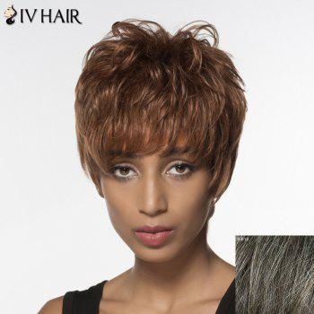 Spiffy Short Siv Hair Capless Fluffy Wave Full Bang Women's Real Natural Hair Wig - DARKEST BROWN WITH GRAY DARKEST BROWN/GRAY