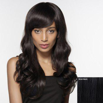 Shaggy Wave Side Bang Human Hair Capless Long Siv Hair Wig For Women - JET BLACK JET BLACK