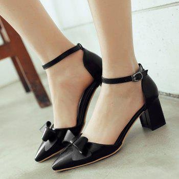 Fashionable Black Color and Bowknot Design Women's Pumps - BLACK 38