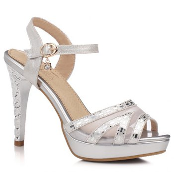 Trendy Gauze and Stiletto Heel Design Women's Sandals