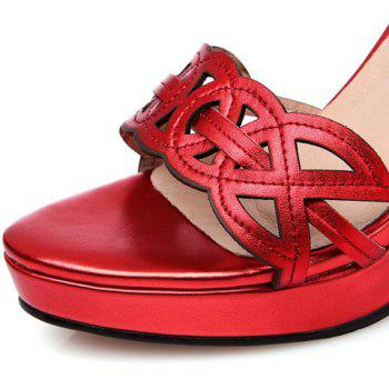 Fashionable Hollow Out and Red Color Design Women's Sandals - RED 36