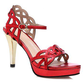 Fashionable Hollow Out and Red Color Design Women's Sandals