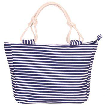 Navy Style Striped and Canvas Design Tote Beach Bag