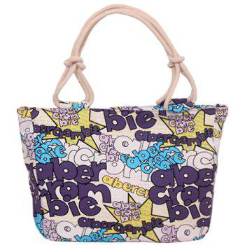 Casual Letter Print and Canvas Design Women's Tote Bag