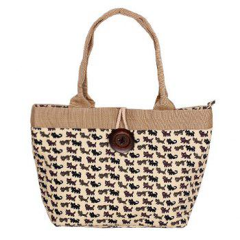 Cute Cat Print and Button Design Women's Tote Bag