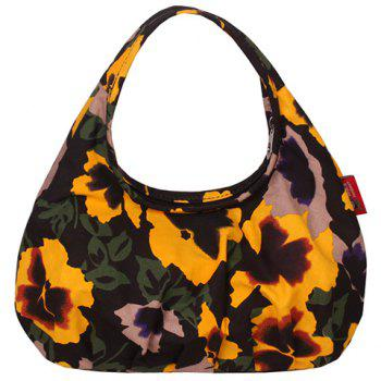 Leisure Canvas and Flowers Print Design Women's Tote Bag