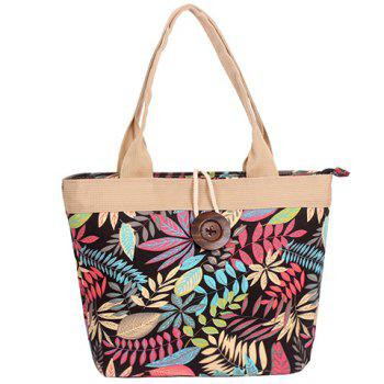 Leisure Leaf Print and Button Design Women's Shoulder Bag