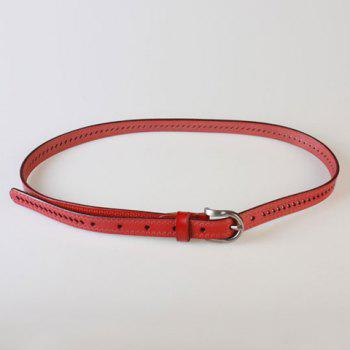 Buy Chic Pin Buckle Hollow Ellipse Embossing Women's PU Slender Belt RED