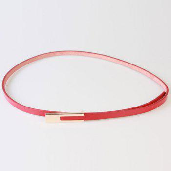 Chic Alloy Long Rectangle Buckle Women's PU Slender Belt