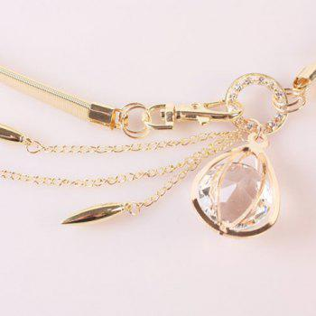 Elegant Artificial Crystal Decorated Tassel Alloy Elastic Waist Belt For Women - GOLDEN