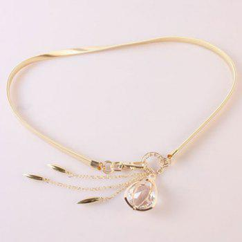 Elegant Artificial Crystal Decorated Tassel Alloy Elastic Waist Belt For Women