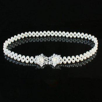 Chic Rhinestone Hollow Out Snowflake Shape Hasp Faux Pearl Women's Waist Chain