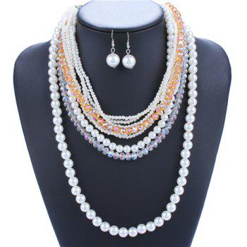 A Suit of Gorgeous Multilayer Faux Pearls Beads Necklace and Earrings For Women