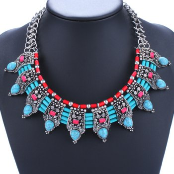 Faux Turquoise Water Drop Necklace - BLUE