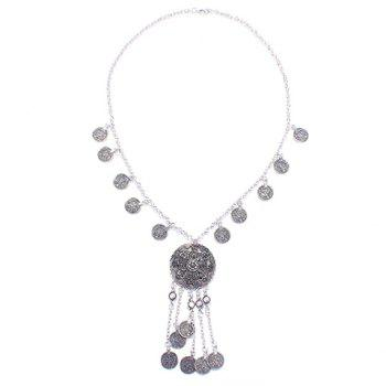 Embossed Flower Coin Fringed Necklace