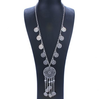 Embossed Flower Coin Fringed Necklace - SILVER