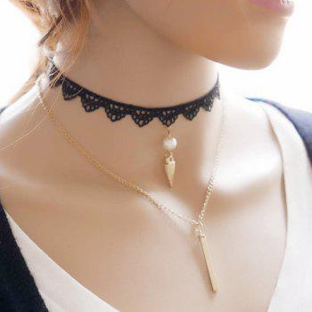 Layered Fake Pearl Rivet Lace Choker - BLACK