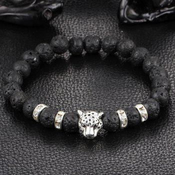 Frosted Bead Leopard Head Bracelet