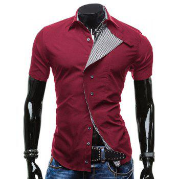 Checked Lining Turn-Down Collar Short Sleeve Men's Shirt