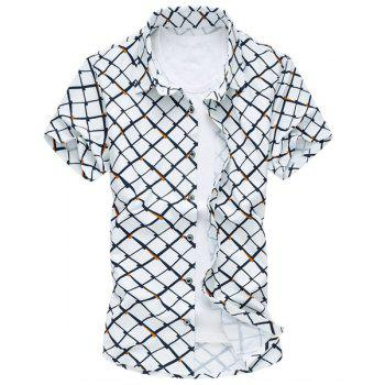 Plus Size Turn-Down Collar Short Sleeve Irregular Argyle Print Men's Shirt