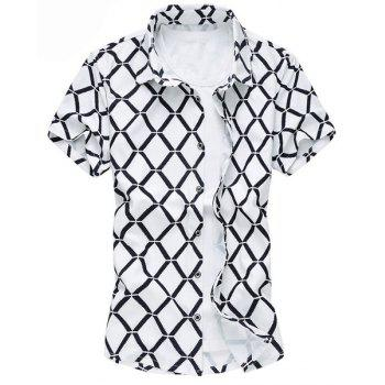 Plus Size Turn-Down Collar Short Sleeve Argyle Print Men's Shirt