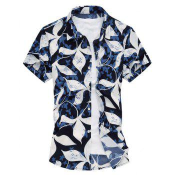 Plus Size Turn-Down Collar Short Sleeve Leaves Printed Men's Shirt
