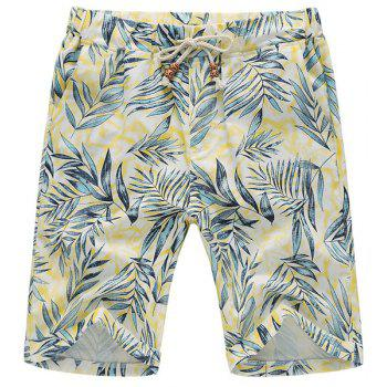 Plus Size Leaves Print Lace-Up Straight Leg Cotton+Linen Men's Shorts
