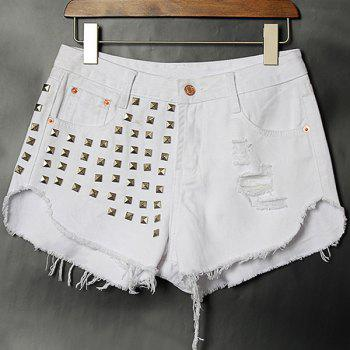 Street Style Rivet Embellish Hole Design Denim Shorts For Women