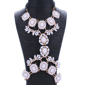 Rhinestone Flowers Resin Body Chain