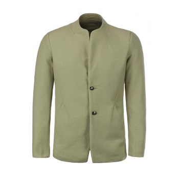 Laconic Stand Collar Solid Color Back Slit Long Sleeves Men's Slimming Jacket