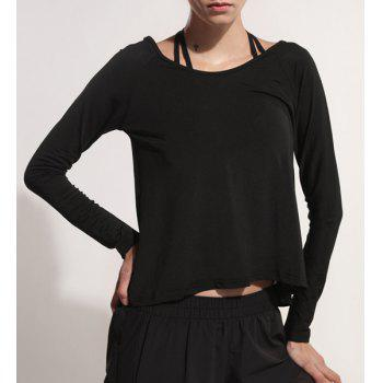 Sporty Women's Scoop Neck Long Sleeve Backless Black Gym Top - BLACK L
