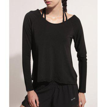 Sporty Women's Scoop Neck Long Sleeve Backless Black Gym Top - BLACK S