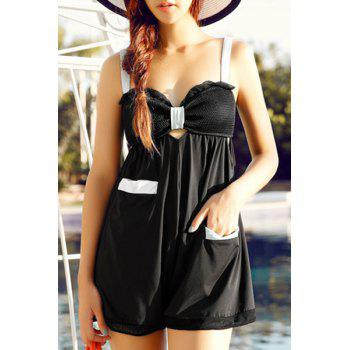 Refreshing Bowknot Design Splice Hollow Out Women's Swimsuit