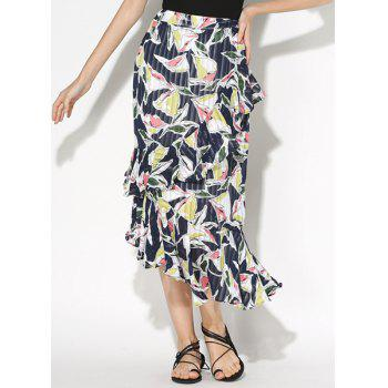 Refreshing Floral Print Ruffled Flounce Women's Skirt